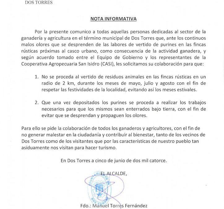 NOTA INFORMATIVA. VERTIDO DE PURINES