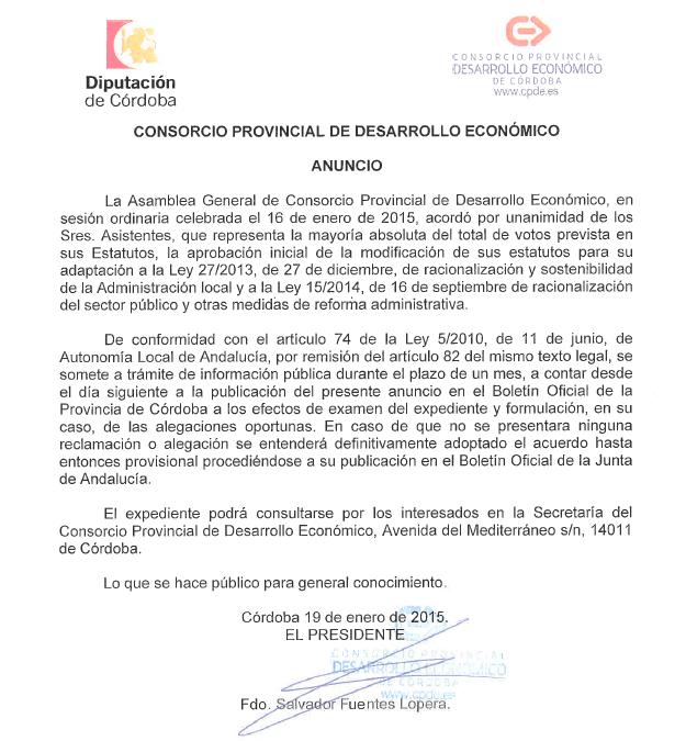 ANUNCIO: Consorcio Provincial de Desarrollo Económico 2015