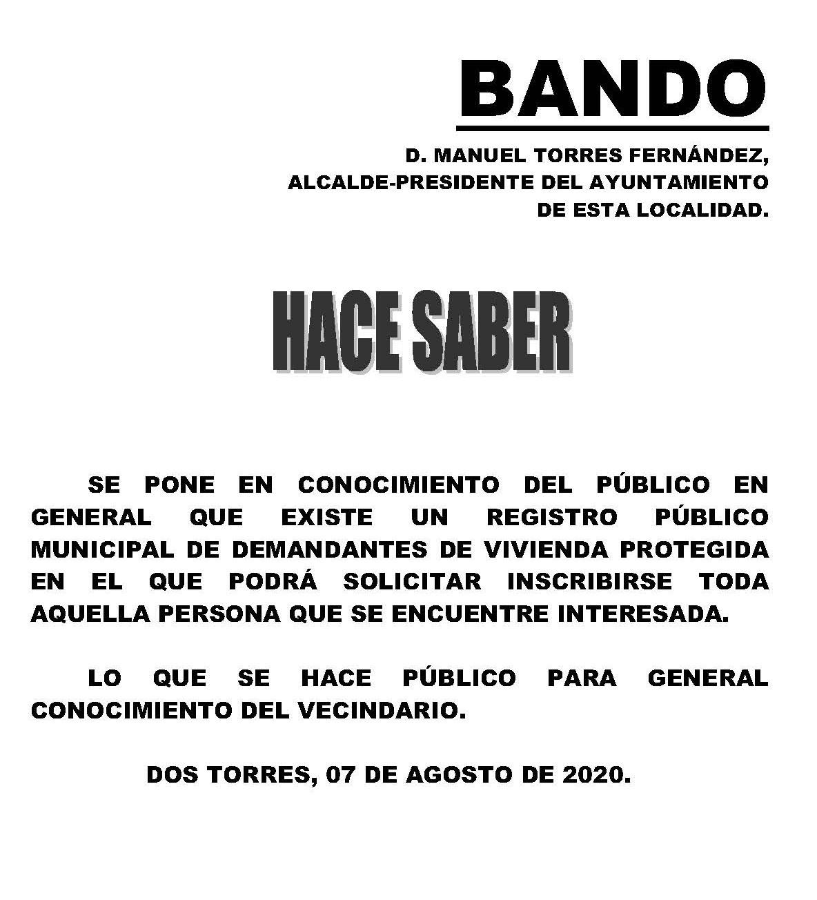 REGISTRO PÚBLICO MUNICIPALDE DEMANDANTES DE VIVIENDA PROTEGIDA